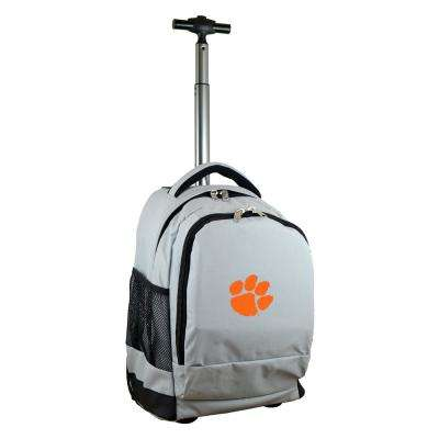 NCAA Clemson 19 in. Gray Wheeled Premium Backpack