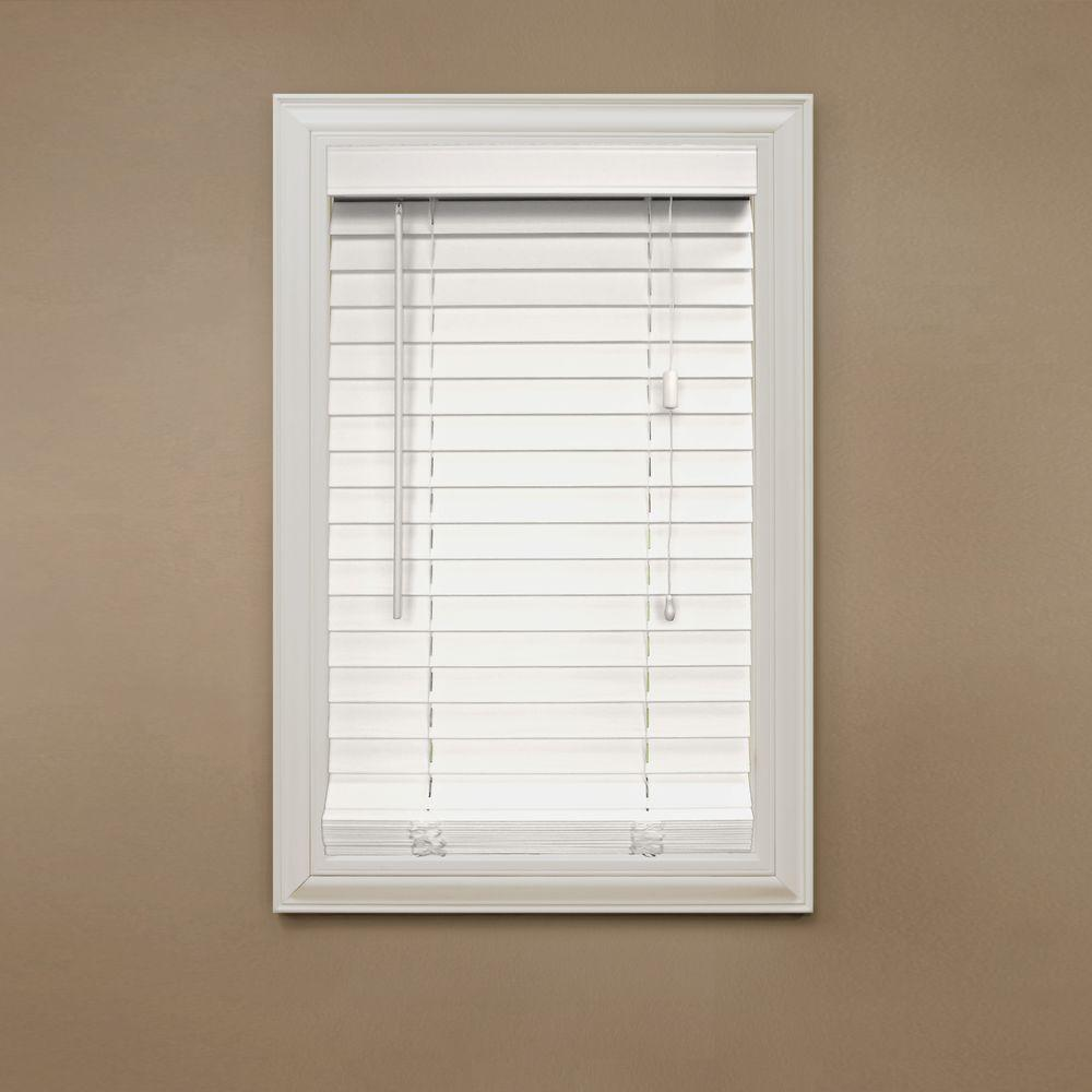 Home Decorators Collection Cut-to-Width White 2 in. Faux Wood Blind - 46 in. W x 64 in. L (Actual Size is 45.5 in. W x 64 in. L )