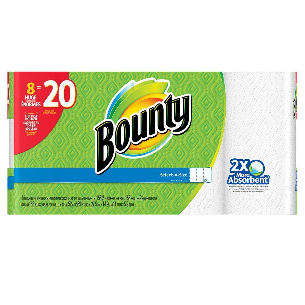Bounty Select-A-Size White Paper Towels (8 Huge Rolls ...