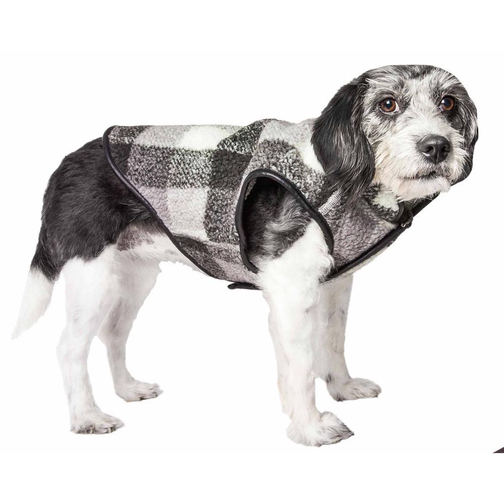 PET LIFE X-Large Black Boxer Classical Plaided Insulated Dog Coat Jacket