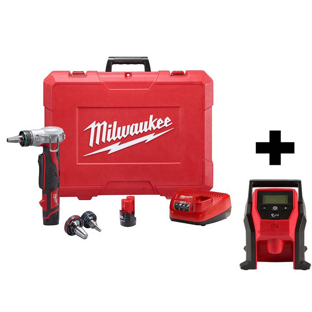Milwaukee M12 12-Volt Lithium-Ion Cordless ProPEX Expansion Tool Kit with Free M12 Compact Inflator