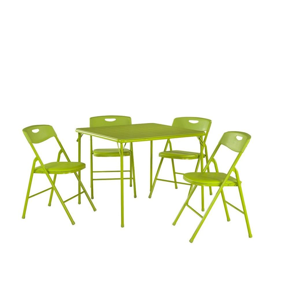 Cosco 5-Piece Apple Green Portable Folding Card Table Set