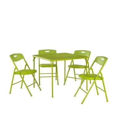 5-Piece Apple Green Portable Folding Card Table Set