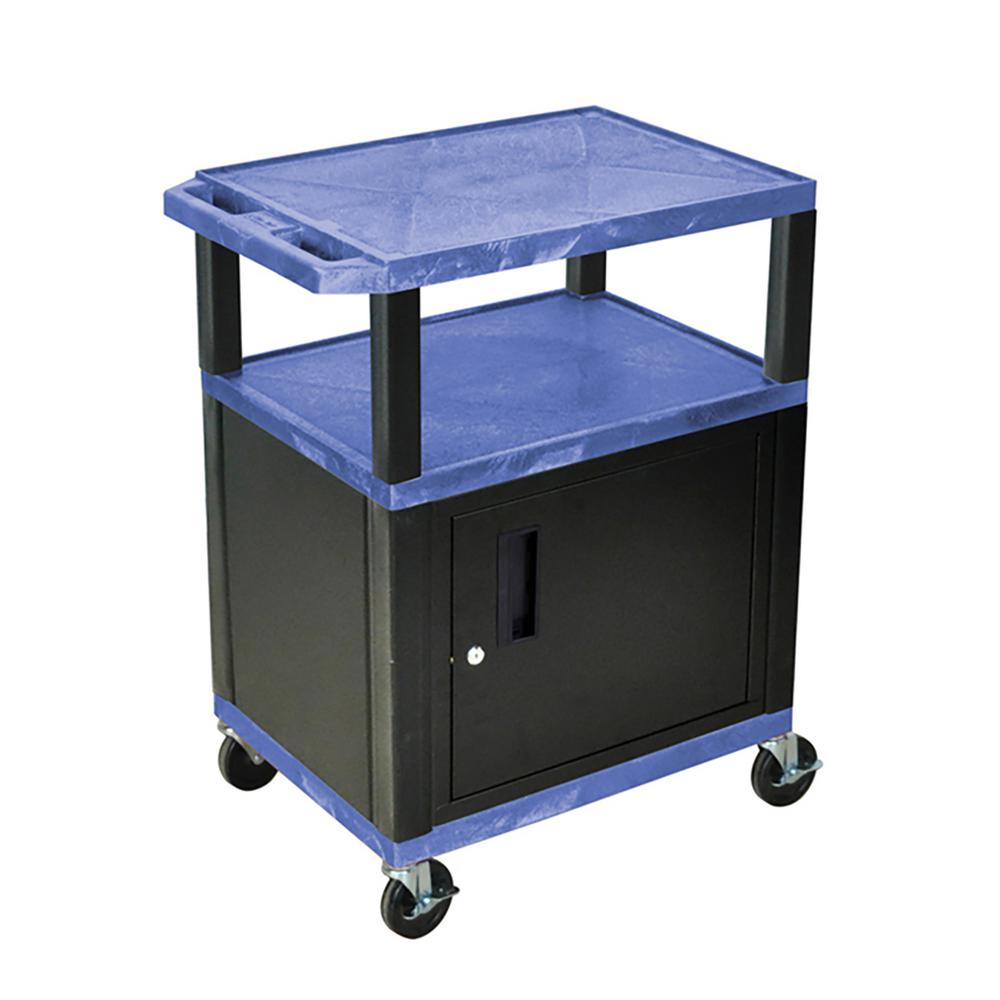 WT 34 ft. H 3 Shelf Cart With Black Cabinet, Blue