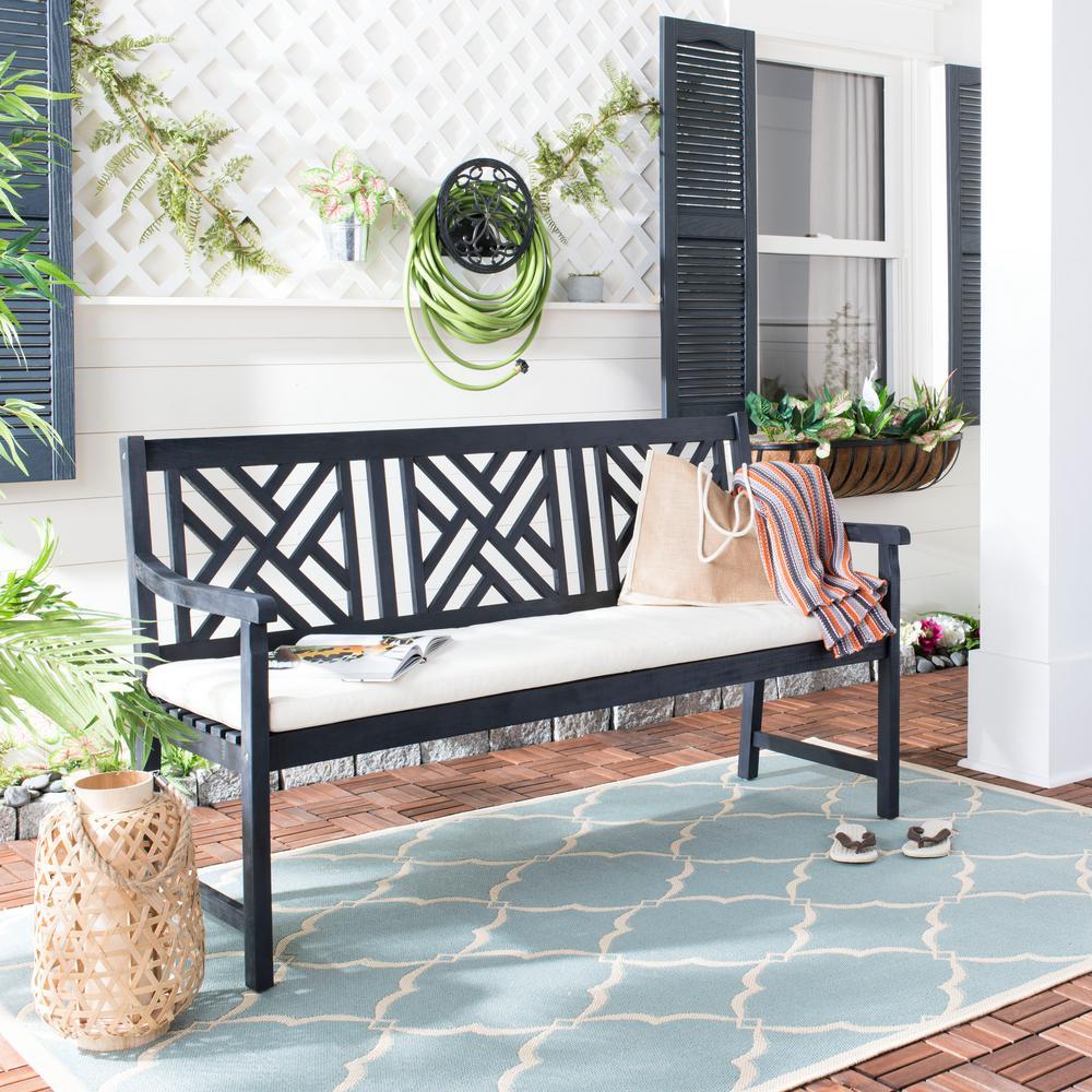 Safavieh Bradbury 60.6 in. 3-Seat Dark Slate Gray Wood Outdoor Bench with Beige Cushion