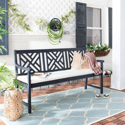 Bradbury 60.6 in. 3-Seat Dark Slate Gray Wood Outdoor Bench with Beige Cushion