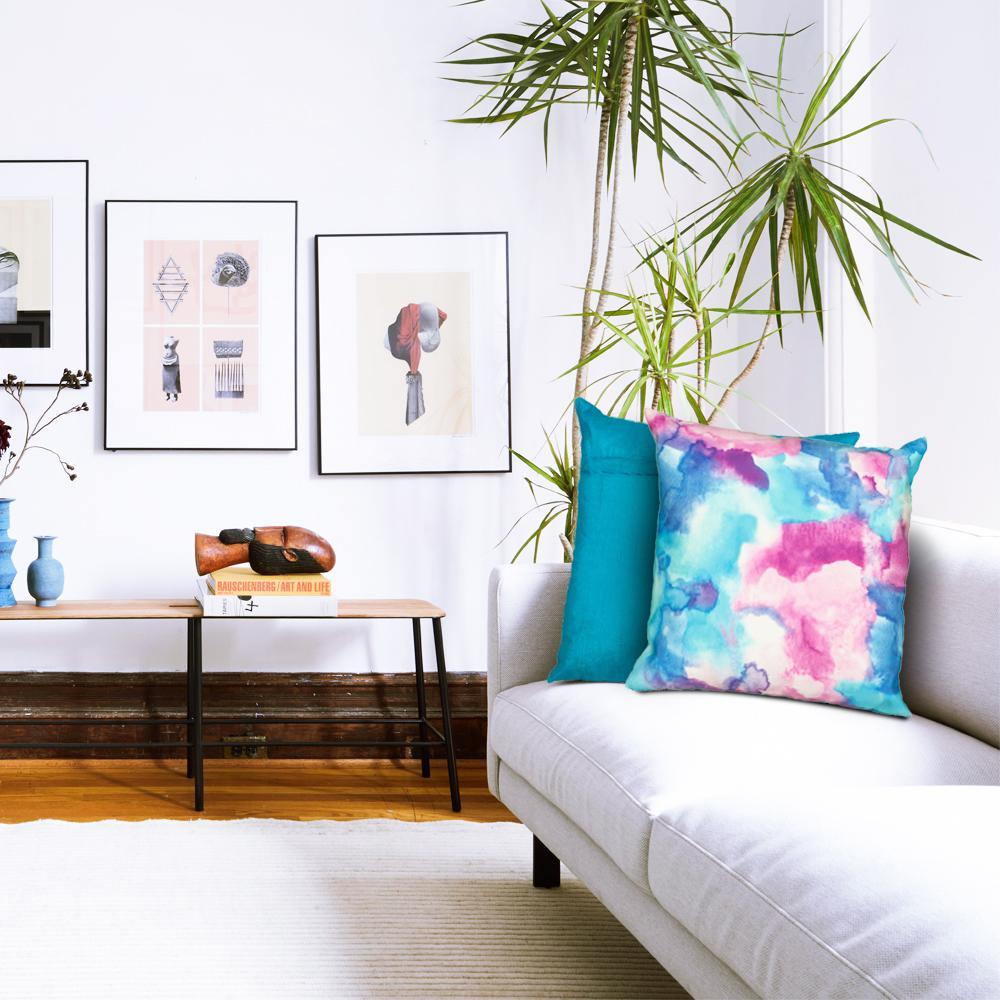 LR Resources 18 in. x 18 in. Multi-Color Decorative Pillow ...