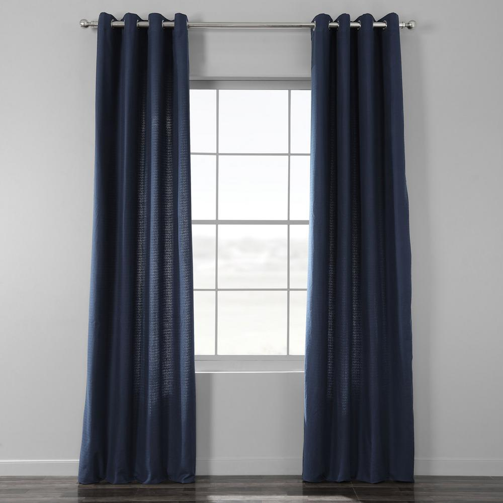 Exclusive Fabrics & Furnishings Elegant Navy Blue Bark Weave Solid Cotton Grommet Curtain - 50 in. W x 96 in. L