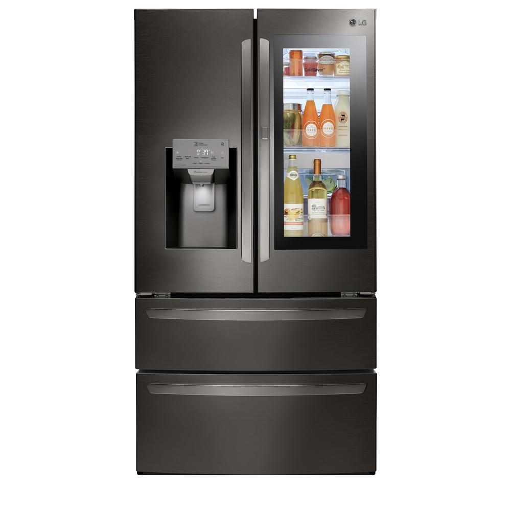 28 cu. ft. 4-Door Smart Refrigerator with InstaView Door-in-Door in Black Stainless Steel
