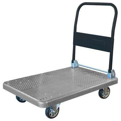 34.5 in. W 660 lbs. Capacity Heavy-Duty Plastic Folding 4-Wheeled Platform Truck/Utility Cart in Blue