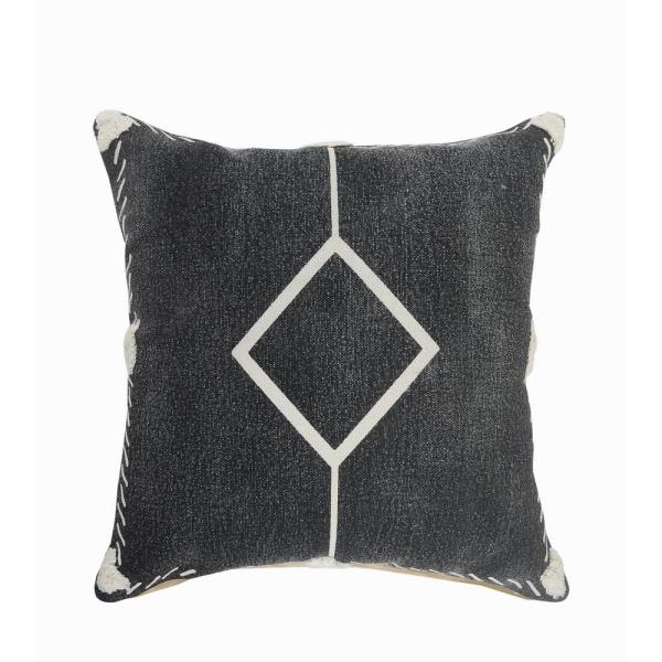 Tufted Edges Black / White Diamond Cozy Poly-Fill 20 in. x 20 in. Throw Pillow