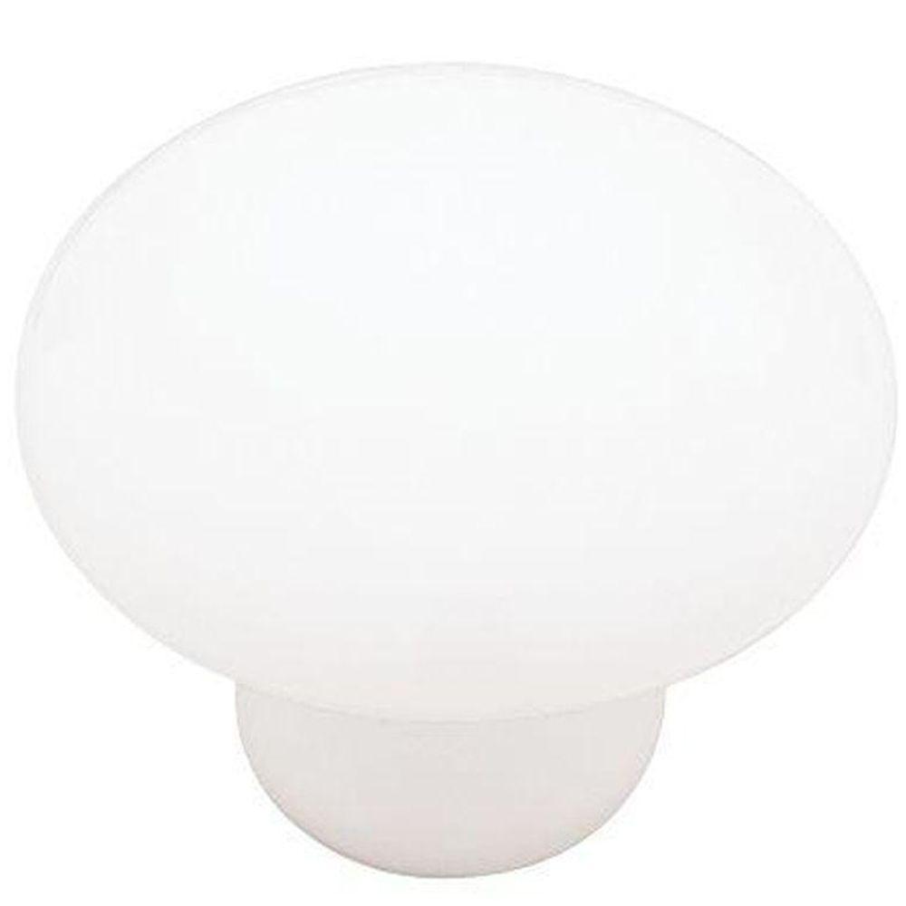 Classic Ceramic 1-3/8 in. (35mm) White Round Cabinet Knob