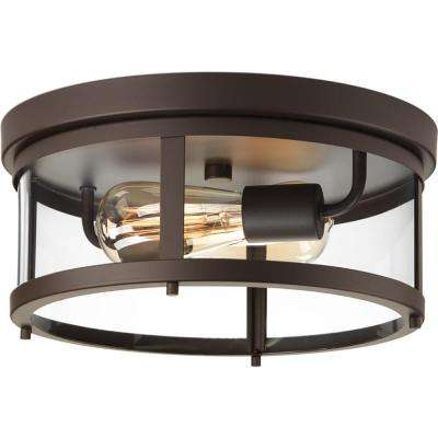 Gunther Collection Antique Bronze 2-Light Outdoor Flush Mount