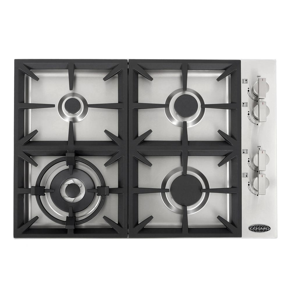 Cosmo 30 in. Gas Cooktop in Stainless Steel with 4 Italian Made Burners, Silver was $1149.99 now $734.99 (36.0% off)