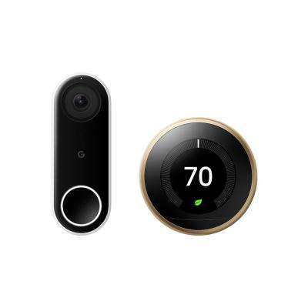 Nest Hello Video Doorbell + Nest Learning Thermostat 3rd Gen Brass