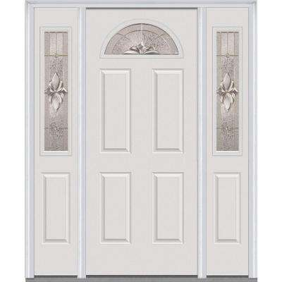 64 in. x 80 in. Heirlooms Right-Hand Inswing 1/4-Lite Decorative Painted Steel Prehung Front Door with Sidelites