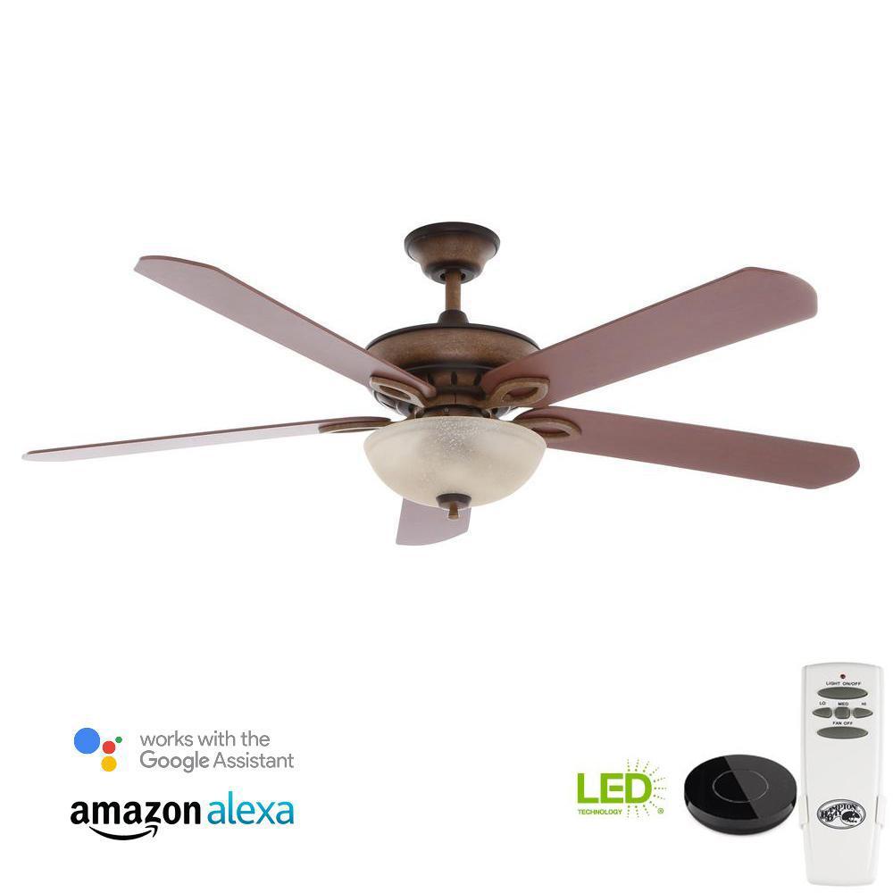 Hampton Bay Windward Light Bulb: Hampton Bay Asbury 60 In. LED Gilded Espresso Ceiling Fan