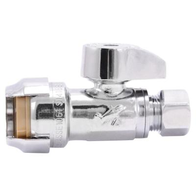 1/2 in. Push-to-Connect x 3/8 in. O.D. Compression Chrome-Plated Brass Quarter-Turn Straight Stop Valve