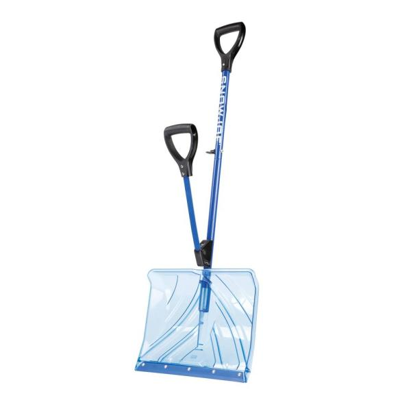 Shovelution 18 in. Strain-Reducing Polycarbonate Snow Shovel with Spring-Assist Handle