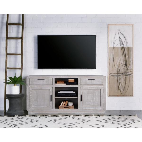 Allure 64 in. Gray Chalk Wood TV Stand with 2 Drawer Fits TVs Up to 70 in. with Storage Doors