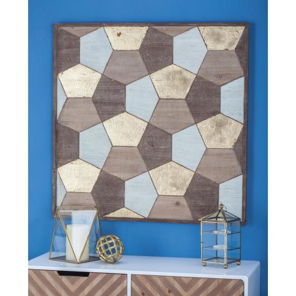 35 in. x 35 in. Rustic Geometric Patterns Wooden Wall Decor in Stained Brown
