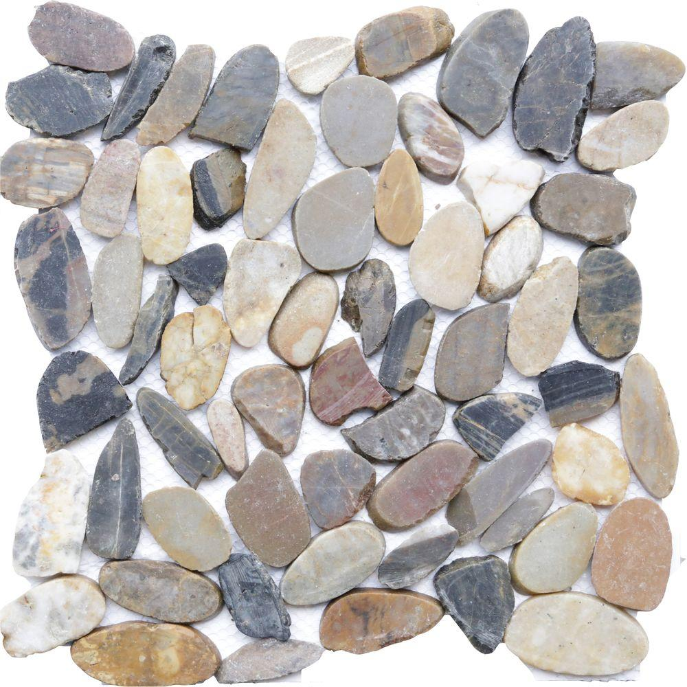 Islander Sienna Mosaic 12 in. x 12 in. Sliced Natural Pebble Stone ...