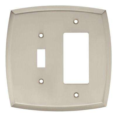 Amherst Decorative Light Switch and Rocker Switch Cover, Satin Nickel