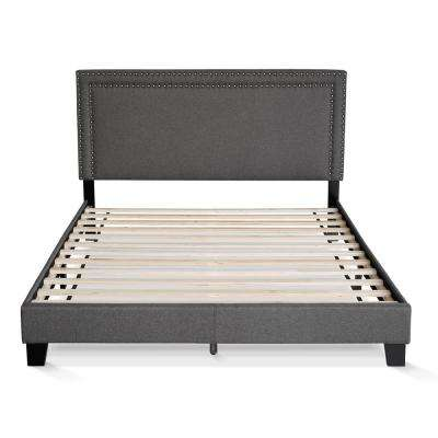 Laval Stone Queen Double Row Nail Head Bed Frame