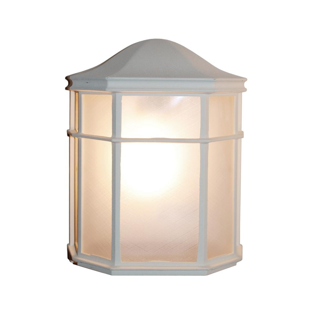 Bel Air Lighting 1 Light White Patio Outdoor Wall Lantern Sconce With Frosted Acrylic