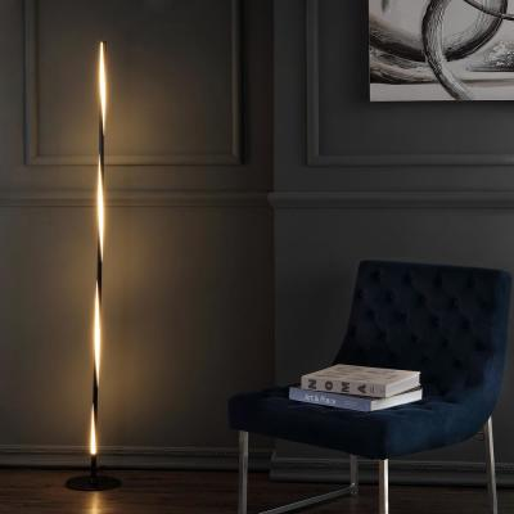 Pilar 63.75 in. Black LED Integrated Floor Lamp