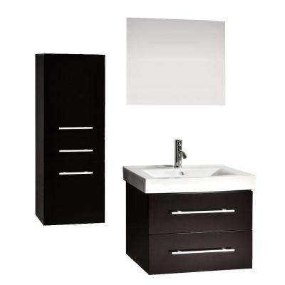 Accent 28 in. Vanity in Espresso with Porcelain Vanity Top in White, Mirror and 1 Side Cabinet