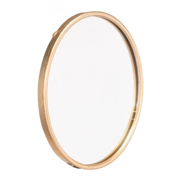 Small Round Gold Contemporary Mirror (15.9 in. H x 15.9 in. W)