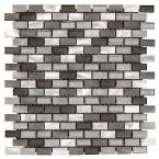 Stealth Grey 11.875 in. x 11.25 in. Interlocking Gloss Glass/Matte Metal Mosaic Tile (0.927 sq. ft./Each)
