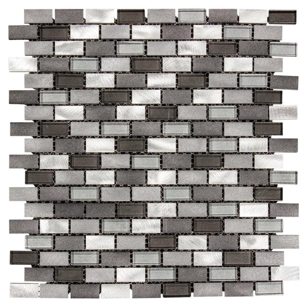 Jeffrey court stealth 12 in x 12 in x 8 mm glassmetal mosaic jeffrey court stealth 12 in x 12 in x 8 mm glassmetal mosaic wall tile 99588 the home depot dailygadgetfo Choice Image