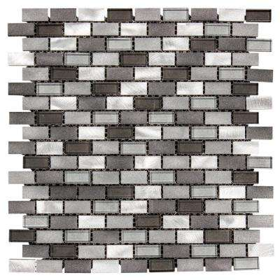 Stealth 12 in. x 12 in. x 8 mm Glass/Metal Mosaic Wall Tile
