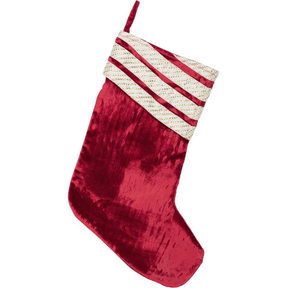 Red Velvet Christmas Stockings.Vhc Brands 15 In Viscose Red Memories Glam Christmas Decor Stocking