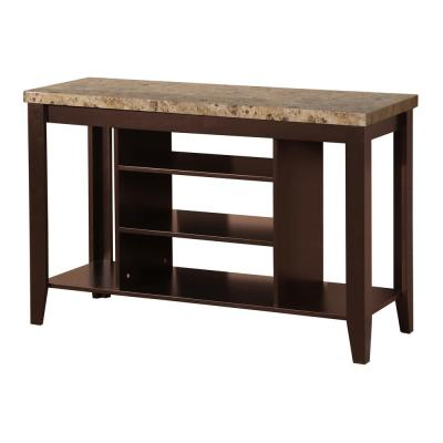Kevin Plasma Mahogany TV Stand with Faux Marble Top and 3 Shelves
