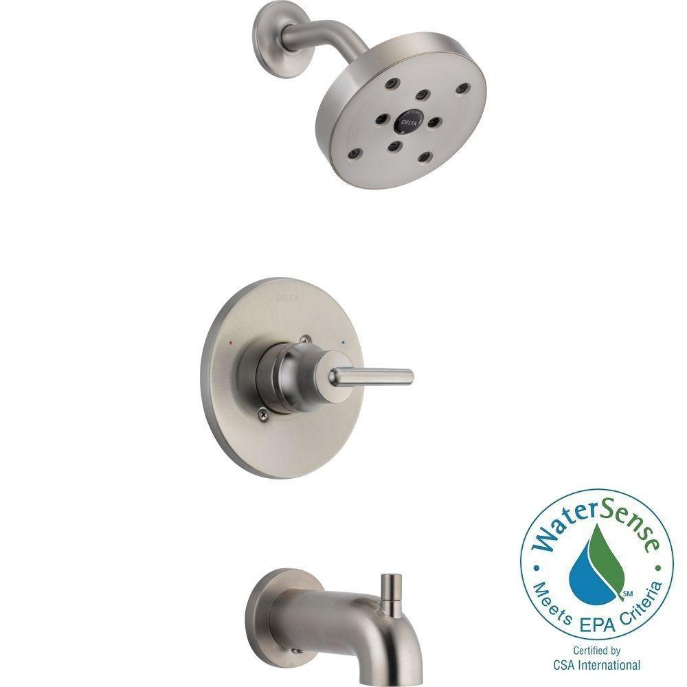 Merveilleux Delta Trinsic 1 Handle 1 Spray Tub And Shower Faucet Trim Kit In Stainless
