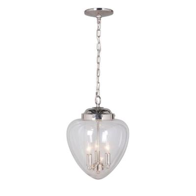Hardwired Pendant Series 3-Lights Brushed Nickel Mini Chandelier with Clear Glass Shade