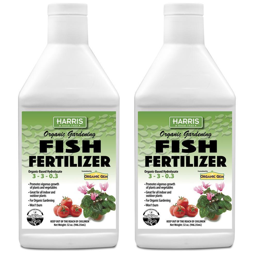 Harris 64 oz  Organic Gardening Liquid Fish Fertilizer and Plant Food  (2-Pack)