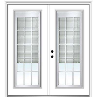 64 in. x 80 in. Internal Blinds and Grilles Right-Hand Inswing Full Lite Clear Glass Painted Steel Prehung Front Door