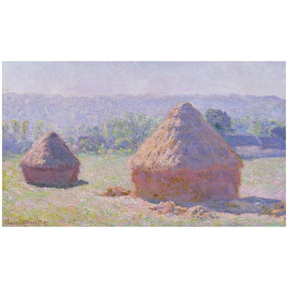 18 in. x 32 in. Grainstacks on a Summer Morning 1891