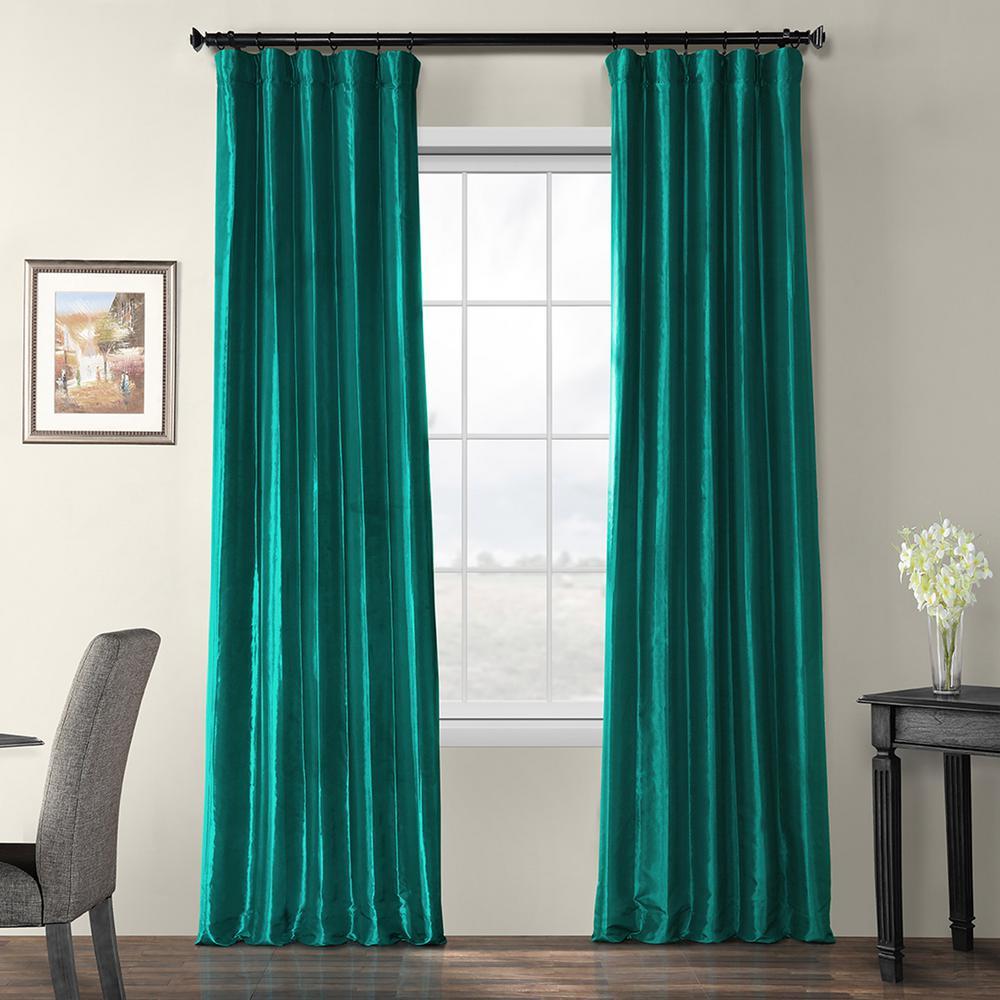 Largo Teal Blue Blackout Faux Silk Taffeta Curtain - 50 in. W x 108 in. L