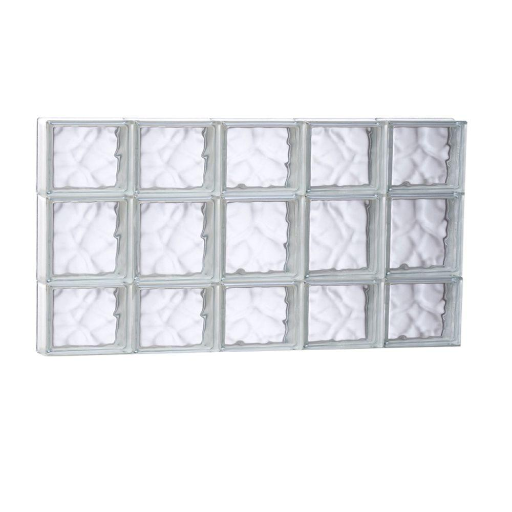 Clearly Secure 38.75 in. x 19.25 in. x 3.125 in. Non-Vented Wave Pattern Frameless Glass Block Window