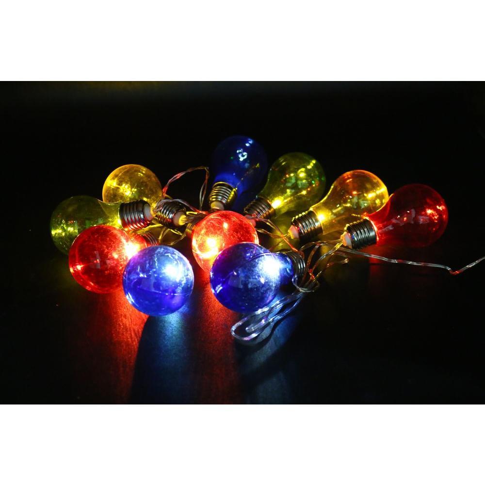alpine corporation 10 light multi color led light bulbs with edison bulb string lights set of. Black Bedroom Furniture Sets. Home Design Ideas