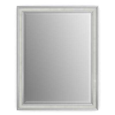 21 in. x 28 in. (S1) Rectangular Framed Mirror with Deluxe Glass and Flush Mount Hardware in Chrome and Linen