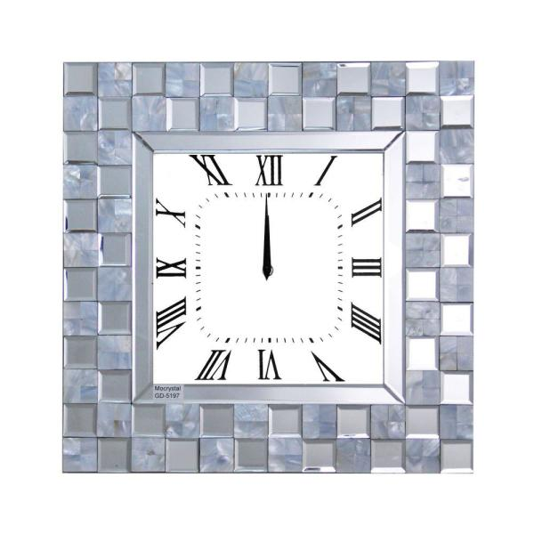 Silver Mirrored Wall Clock with Checkered Pattern