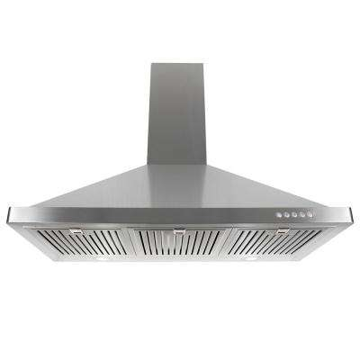 36 in. Ducted Wall Mount Range Hood in Stainless Steel with LED Lighting and Permanent Filters