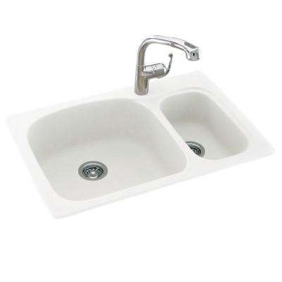 Drop-In/Undermount Solid Surface 33 in. 1-Hole 70/30 Double Bowl Kitchen Sink in White