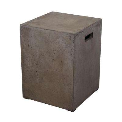 Cubo 18 in. Gray Square Handled Concrete Stool